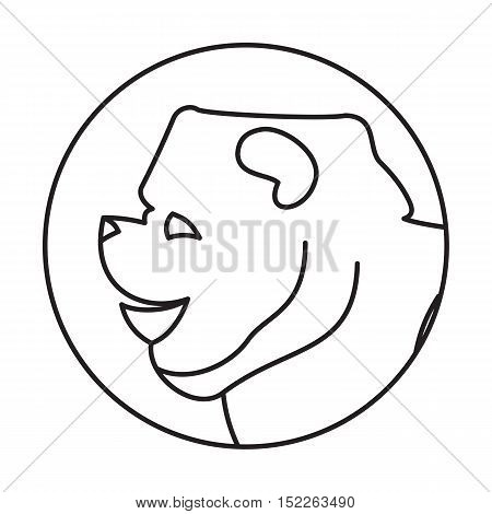 Line head dog in round. Chow-chow friend and companion, vector illustration