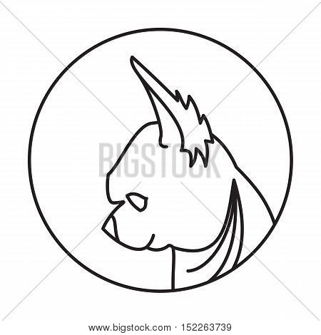 Linear emblem with dog chihuahua. Muzzle doggy head, vector illustration