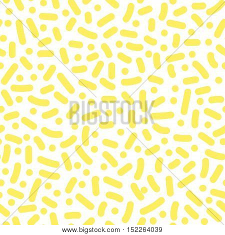 Vector Seamless Pattern With Geometric Elements In The Style Of 80's. Memphis Design. Retro Backgrou