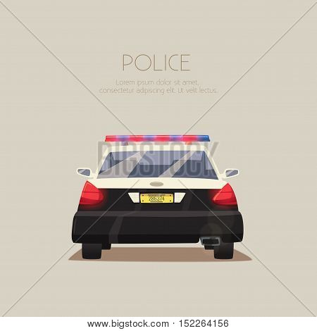 Police car. Vector cartoon illustration. Isolated background. American cop. Security auto. Back view. Modern transport