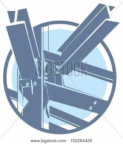 metal construction frame monochromatic icon. building framework