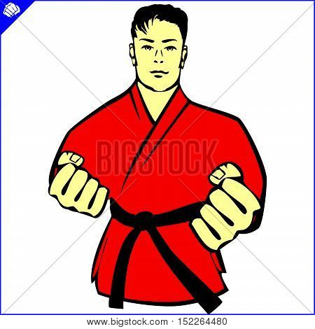 Martial arts. Karate fighters in red kimono, dogi silhouette scene poster, plakat