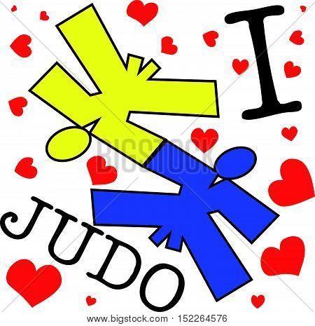 Martial arts. Judo fighters silhouette scene poster, plakat