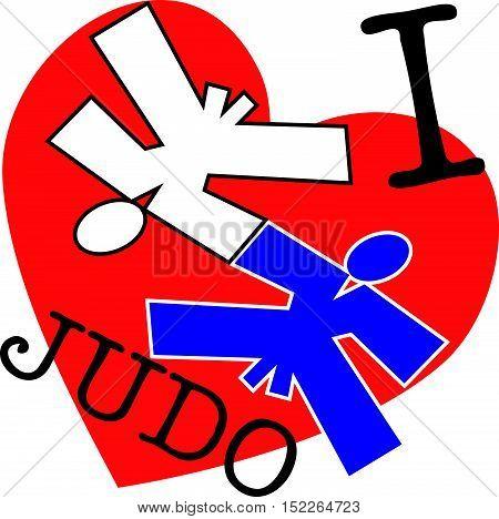 Martial arts. I love judo fighters silhouette scene poster, plakat