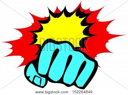 Martial arts. Karate fighters power fist silhouette. Vector. EPS