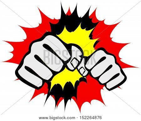 Martial arts. Karate fighters power fists logo silhouette. Vector. EPS