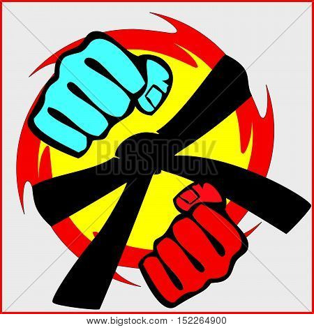Martial arts. Karate fighters power fists blue red silhouette. Vector. EPS