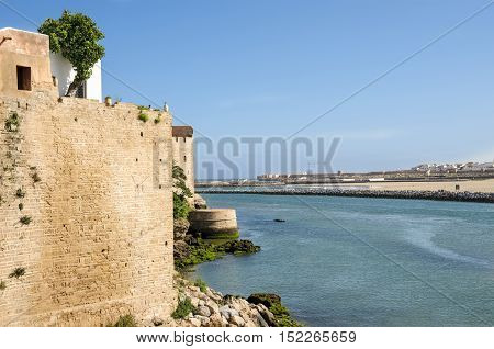 Fortified wall of the Kasbah of the Udayas in Rabat Morocco located at the mouth of the Bou Regreg river opposite of Salé.