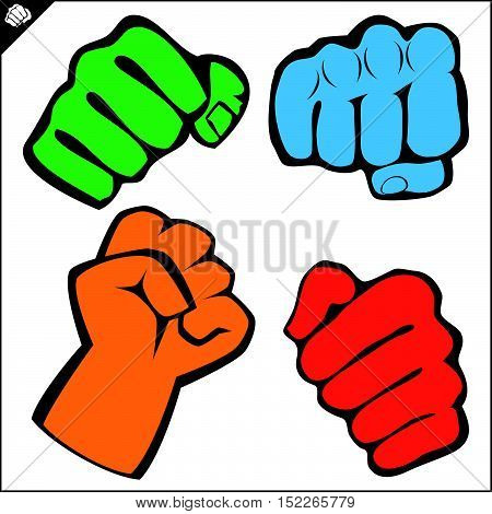 Martial arts. Karate fighters power fists set silhouette. Vector. EPS