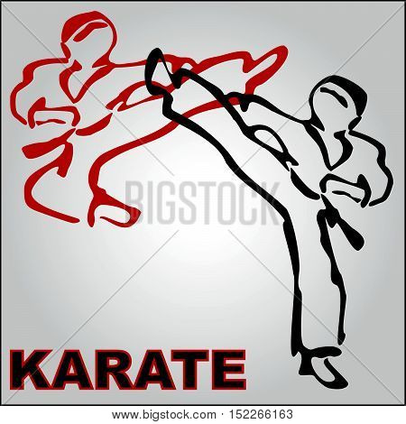 Martial arts. Karate fighters power shampion silhouette. Vector. EPS