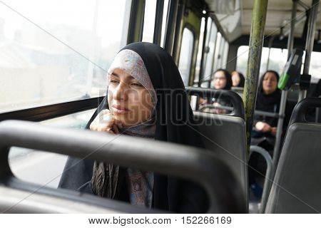 Beautiful Iranian Muslim woman on the street
