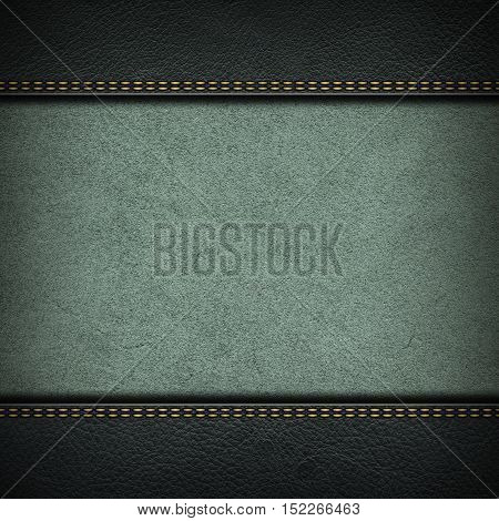 Texture of grey leather background with stitched seam, close-up. Texture for design. Nubuck texture