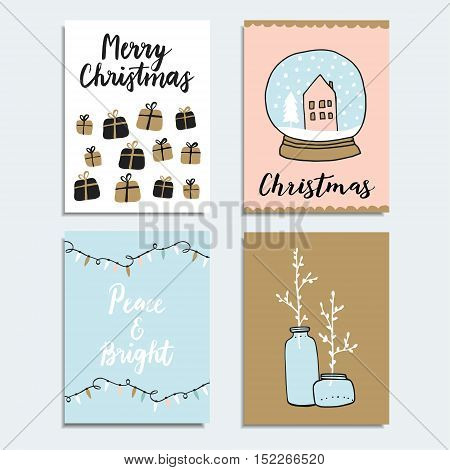 Set of Christmas New Year greeting journaling cards invitations. Hand drawn illustration of gift boxes winter glass ball and Christmas lights.