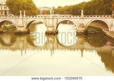 Ponte Sant'Angelo, Rome, Italy, retro filter spplied