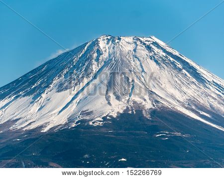 Mount Fuji in winter. Mt. Fuji is the highest mountain in Japan. It was added to the World Heritage List as a Cultural Site in June, 2013.