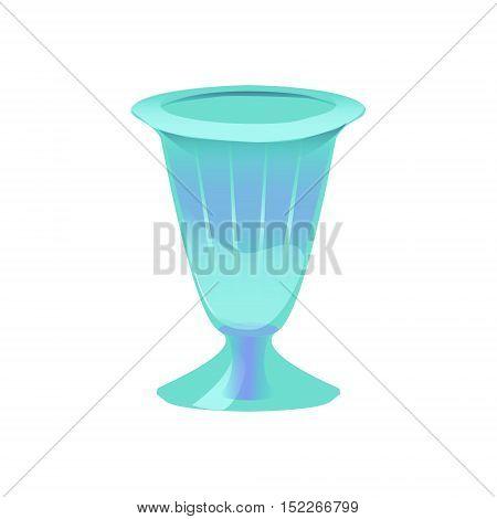 Vector illustration of glass emerald vase used for sundae ice cream fruit or drink. Glass-ware design element vintage winner concept