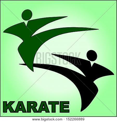 Martial arts. Karate taekwon-do fighters silhouette logo plakat, poster. Vector. EPS.