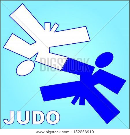 Martial arts. Karate Aikido Judo fighters silhouette logo plakat, poster. Vector. EPS.