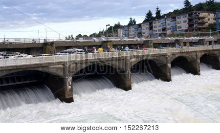 SEATTLE, WASHINGTON STATE, USA - OCTOBER 10, 2014: Hiram M. Chittenden Locks