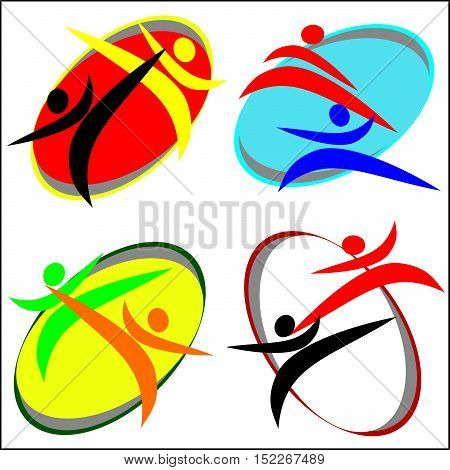 Martial arts. Karate taekwon-do fighters silhouette set logo plakat, poster. Vector. EPS.