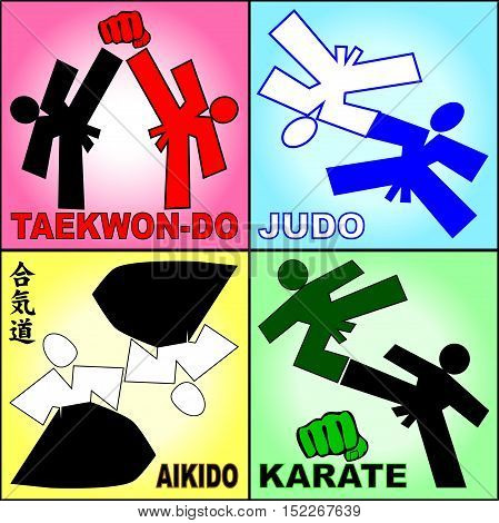 Martial arts. Karate Aikido Judo fighters silhouette logo set plakat, poster. Vector. EPS.