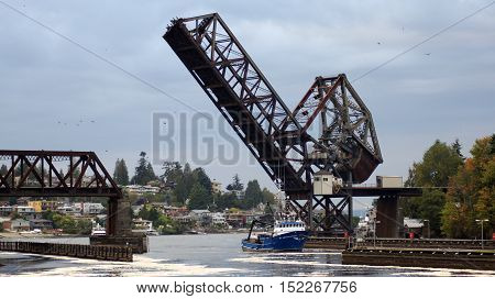 SEATTLE, WASHINGTON STATE, USA - OCTOBER 10, 2014: Hiram M. Chittenden Locks and Rail Drawbridge - Salmon Bay Bridge