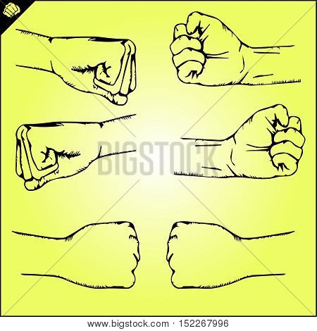 Martial arts. Karate fighters fists silhouette logo plakat, poster. Vector. EPS.