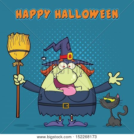 Happy Witch Cartoon Mascot Character Holding A Broom With Black Cat. Illustration With Halftone Background And Text Happy Halloween