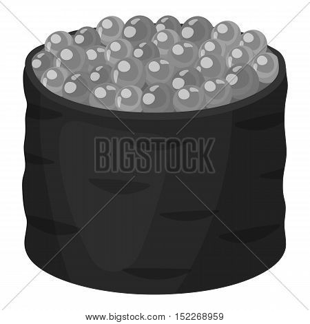 Ikura gunkan-maki icon in monochrome style isolated on white background. Sushi symbol vector illustration.