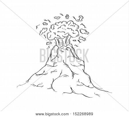 Hand drawn sketch of dangerous volcano eruption. Cartoon volcano illustration isolated on white background.