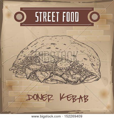 Doner kebab sketch on grunge background. Turkish cuisine. Street food series. Great for market, restaurant, cafe, food label design.
