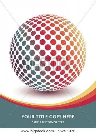 Multicolored globe design with copy space.