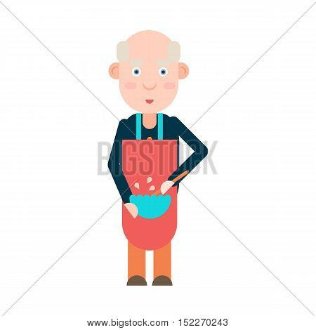 Grandpa pensioner prepares food isolated on white background, vector illustration
