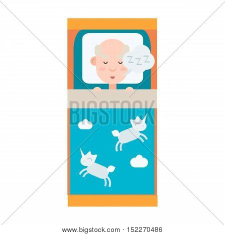 Elderly man sleeping in bed, grandfather sleep and rest, vector illustration