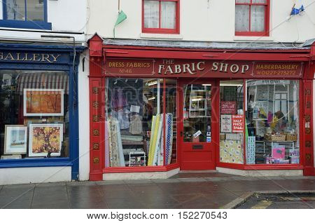 Whitstable United Kingdom -October 1 2016: Traditional Haberdashery store