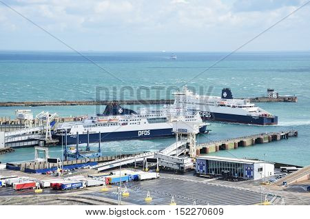 Dover United Kingdom - October 1 2016: Overlooking Dover Harbour with two boats from Castle