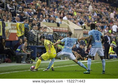 VILLARREAL, SPAIN - OCTOBER 16th: Manu Trigueros with ball during La Liga soccer match between Villarreal CF and R.C. Celta de Vigo at El Madrigal Stadium on October 16, 2016 in Villarreal, Spain