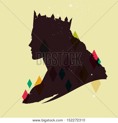 Vintage queen silhouette Medieval queen profile
