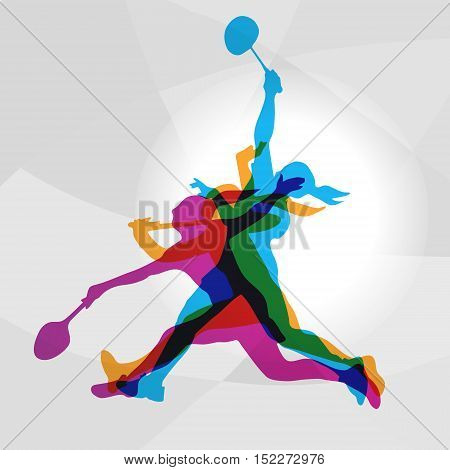 Modern Badminton Female Players In Action Logo. Color silhouettes of badminton players, sports poster background. Vector eps 10