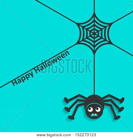 Happy halloween card spider web and scary spider