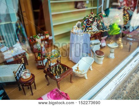Trier, Germany - April 7, 2008: Exhibition Of Miniature Toy Furniture In The Shop