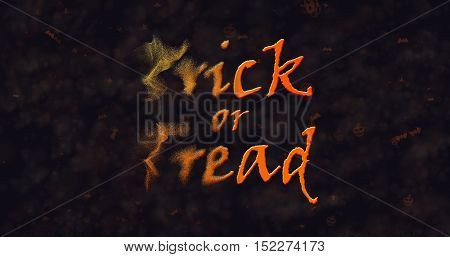 Trick or Treat text dissolving into dust to left