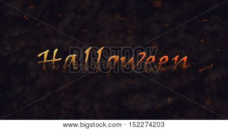 Halloween text dissolving into dust to bottom