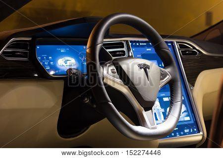 LJUBLJANA SLOVENIA - October 13 2016: Steering wheel and dashboard of Tesla Model S at night