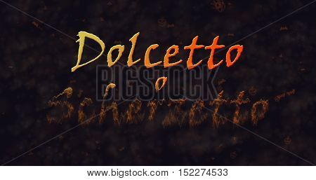 Dolcetto o Schezetto (Trick or Treat) Italian text dissolving into dust from bottom