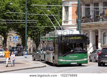 Landskrona ,Sweden - May 31, 2013: A green trolleybus in service for the public transport company Skanetrafiken.
