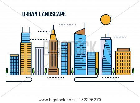 Urban cityscape flat line vector design. Building architecture downtown, skyscraper in business city illustration