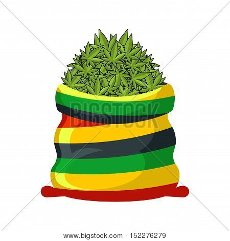 Rasta Sack Of Cannabis. Large Bag Of Marijuana For Rastaman. Smoking Drug. Heap Hemp