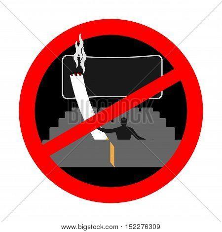 No Smoking In Cinema. Red Sign Prohibiting Smoking. Ban Smokers And Cigarette