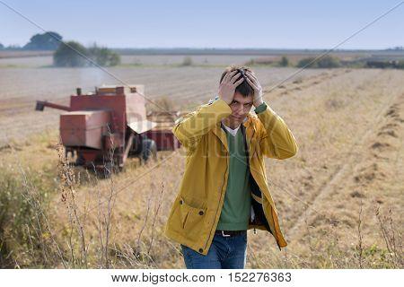 Unhappy Farmer In Soybean Field